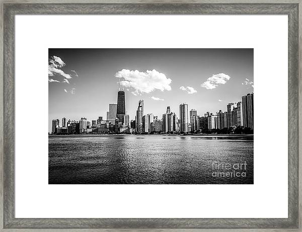 Gold Coast Skyline In Chicago Black And White Picture Framed Print