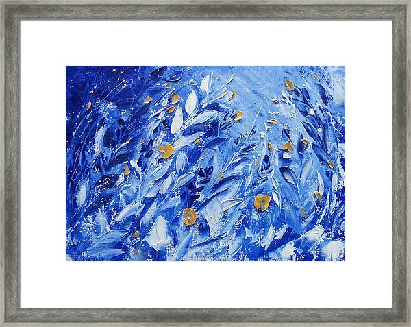 Gold Flowers On Blue Framed Print