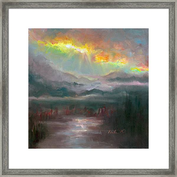 Gold Lining - Chugach Mountain Range En Plein Air Framed Print