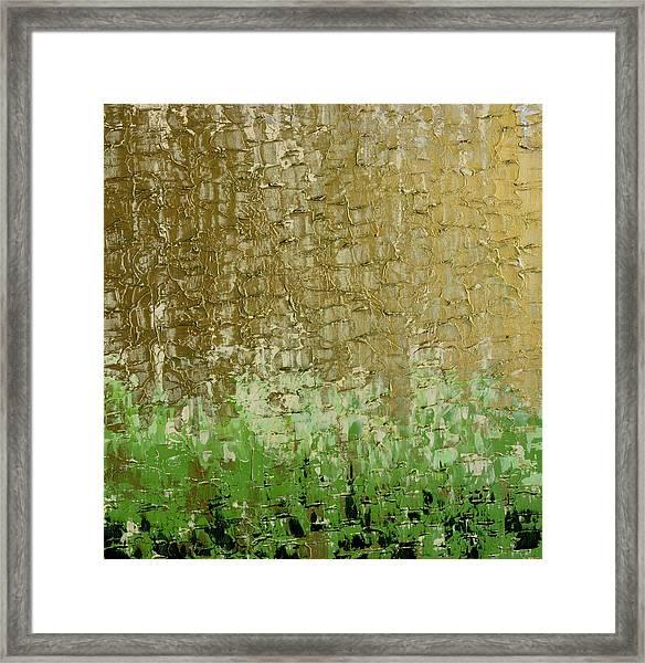 Gold Sky Green Grass Framed Print