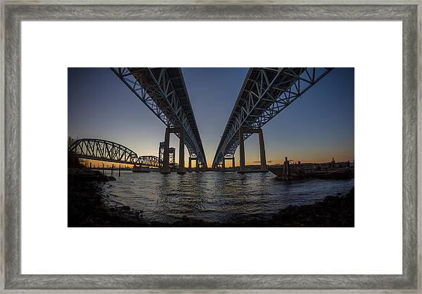 Gold Star Bridge Simple Sunset  Framed Print
