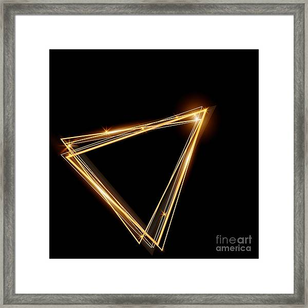 Gold Triangle Glowing Frame. Abstract Framed Print