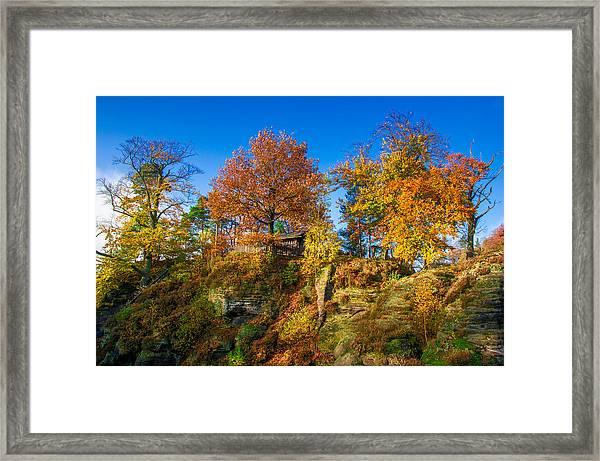 Golden Autumn On Neurathen Castle Framed Print