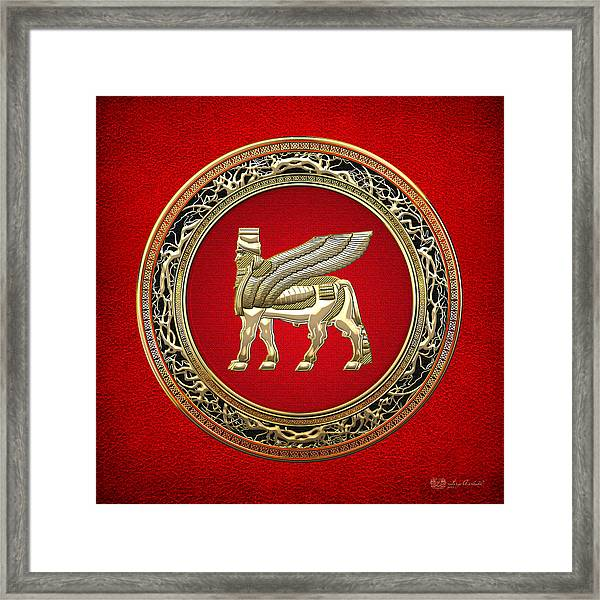 Golden Babylonian Winged Bull  Framed Print
