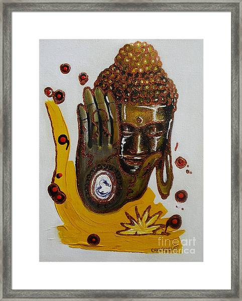 Golden Buddha Framed Print by Donna Chaasadah