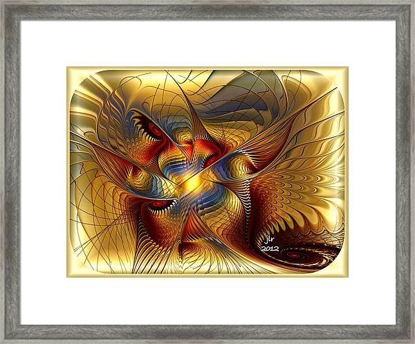 Golden Dancing Dragon Framed Print by Janet Russell