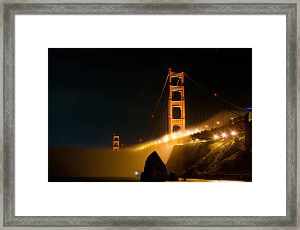 Golden Gate Bridge At Night In The Fog Framed Print