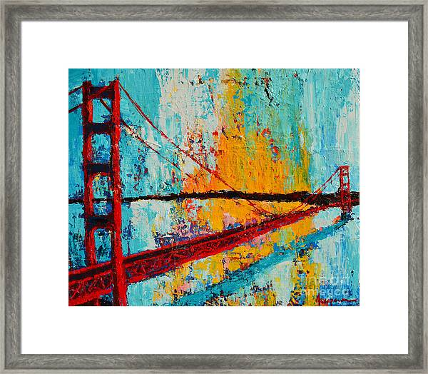 Golden Gate Bridge Modern Impressionistic Landscape Painting Palette Knife Work Framed Print