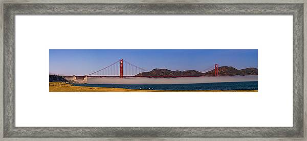 Golden Gate Bridge Over Fog Panorama Framed Print