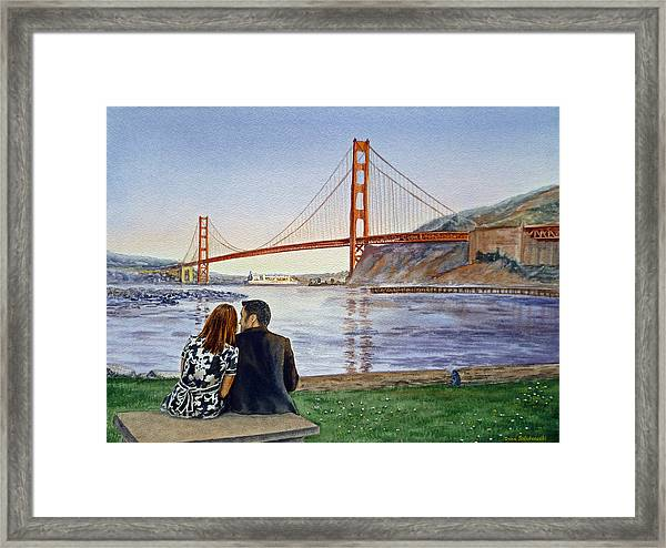 Golden Gate Bridge San Francisco - Two Love Birds Framed Print