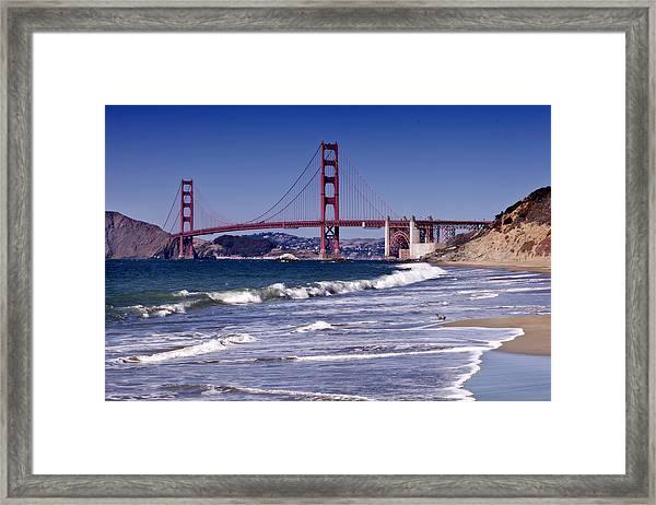 Golden Gate Bridge - Seen From Baker Beach Framed Print