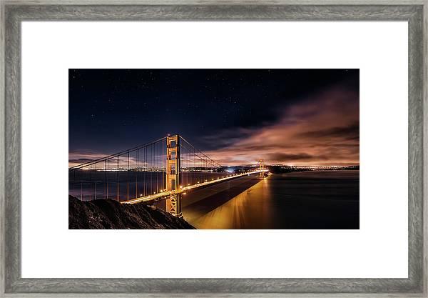 Golden Gate To Stars Framed Print by Javier De La