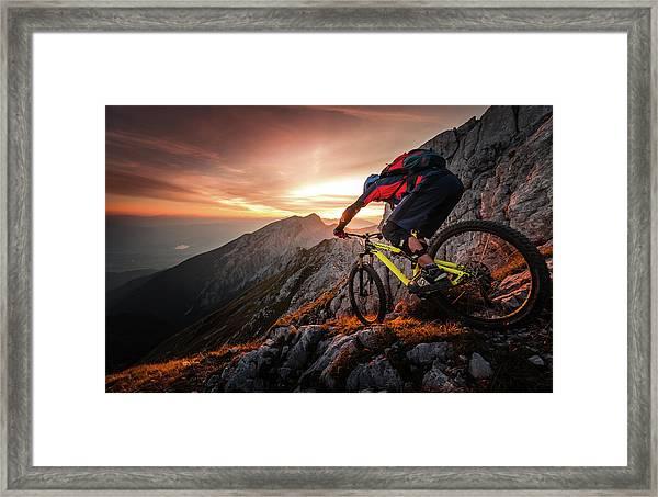 Golden Hour High Alpine Ride Framed Print
