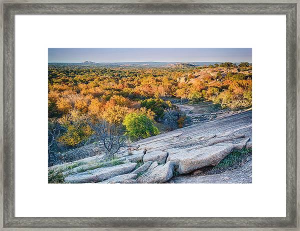 Golden Hour Light Enchanted Rock Texas Hill Country Framed Print