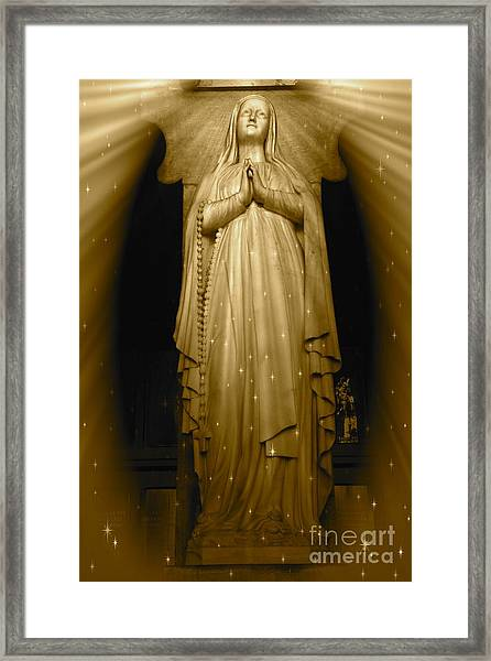 Golden Light Of Our Lady Of Lourdes Framed Print