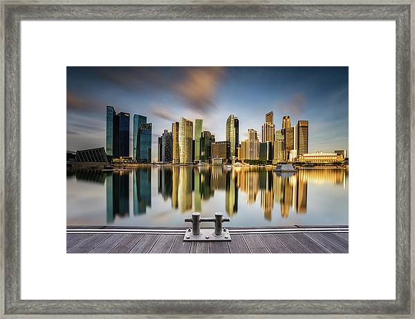Golden Morning In Singapore Framed Print