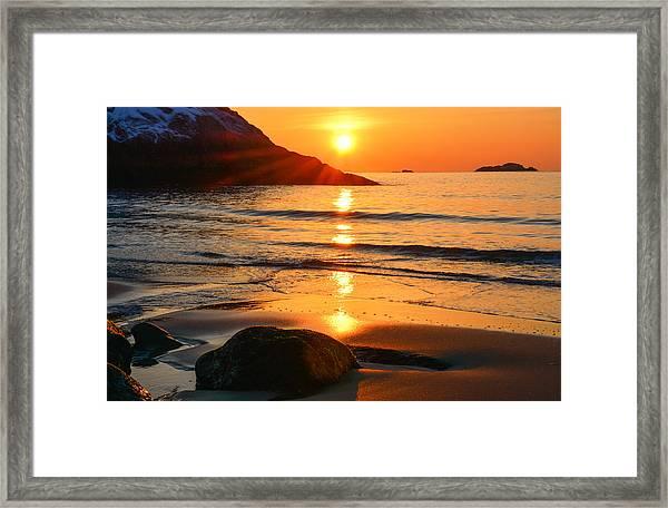 Golden Morning Singing Beach Framed Print