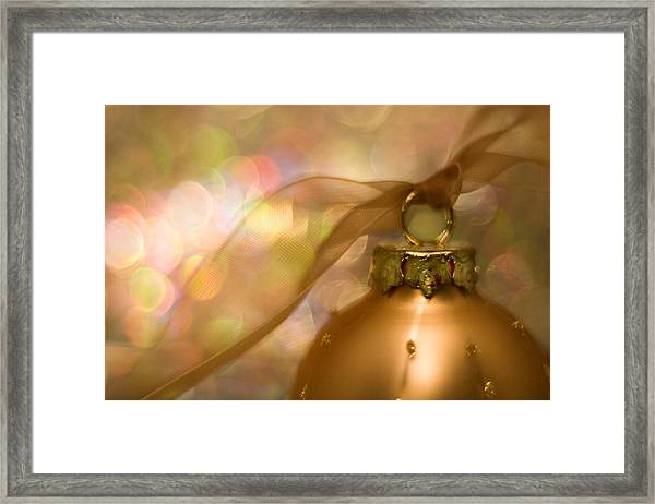 Golden Ornament With Ribbon Framed Print