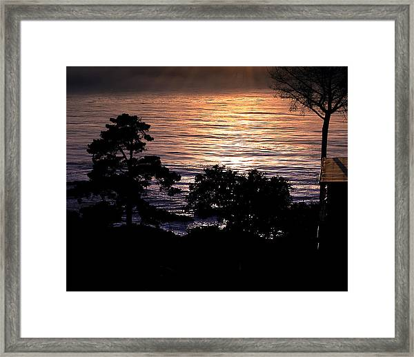 Framed Print featuring the photograph Golden Rays Of Sunset On The Water by William Havle