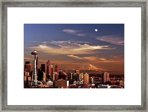 Golden Seattle Framed Print