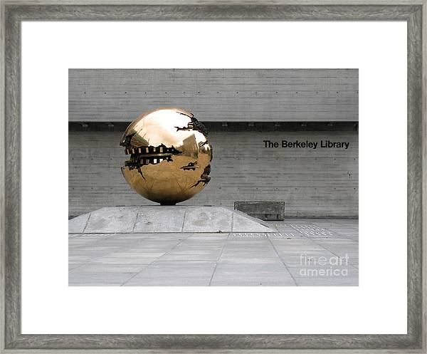 Golden Sphere By The Berkeley Library Framed Print