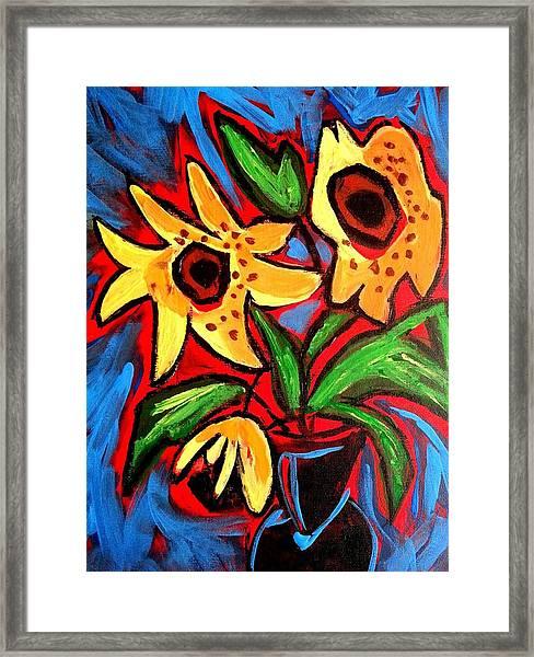 Golden Sunflowers Framed Print