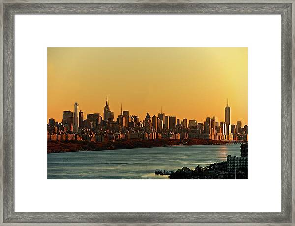 Golden Sunset On Nyc Skyline Framed Print