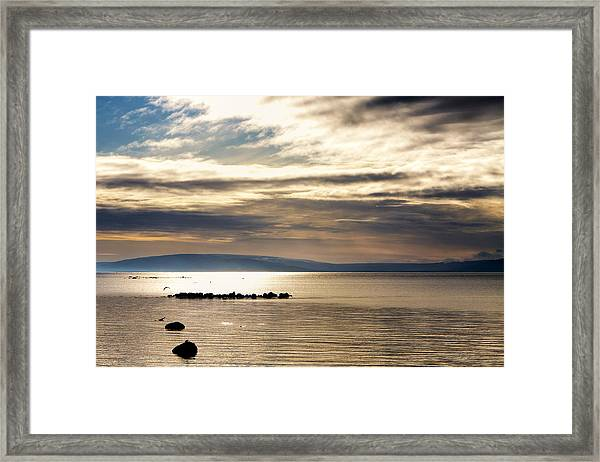 Golden Waters Of Galway Bay Framed Print by Mark Tisdale