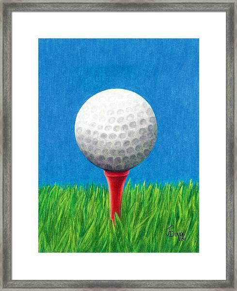 Golf Ball And Tee Framed Print