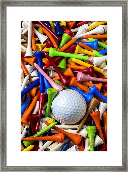 Golf Ball And Tees Framed Print