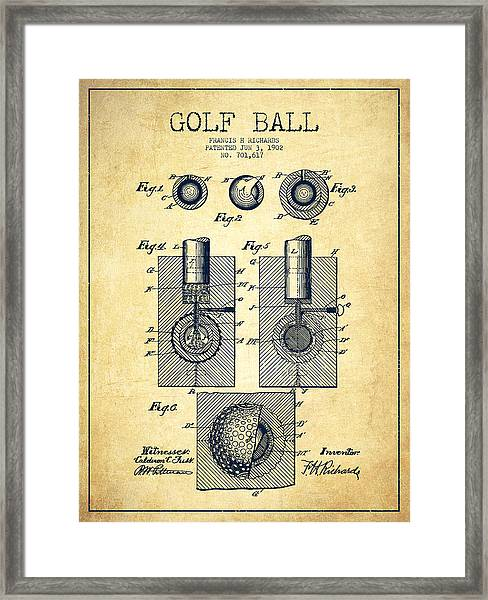 Golf Ball Patent Drawing From 1902 - Vintage Framed Print