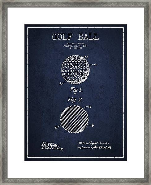 Golf Ball Patent Drawing From 1908 - Navy Blue Framed Print