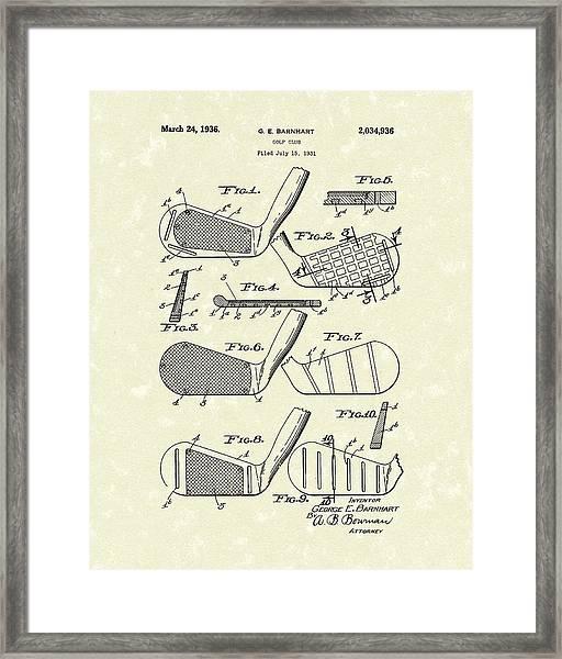 Golf Club 1936 Patent Art Framed Print