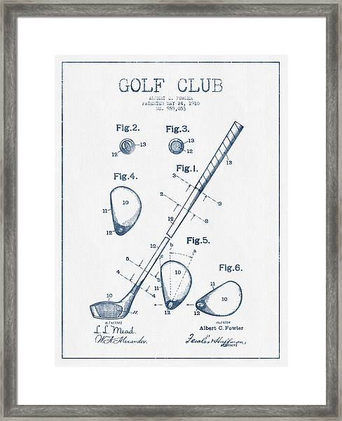 Golf Club Patent Drawing From 1910 - Blue Ink Framed Print
