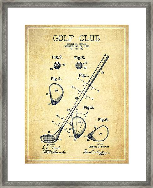 Golf Club Patent Drawing From 1910 - Vintage Framed Print