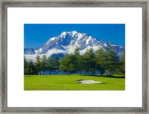 Golf Course In The Mountains - Riederalp Swiss Alps Switzerland Framed Print