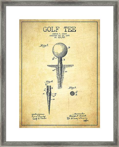 Golf Tee Patent Drawing From 1899 - Vintage Framed Print