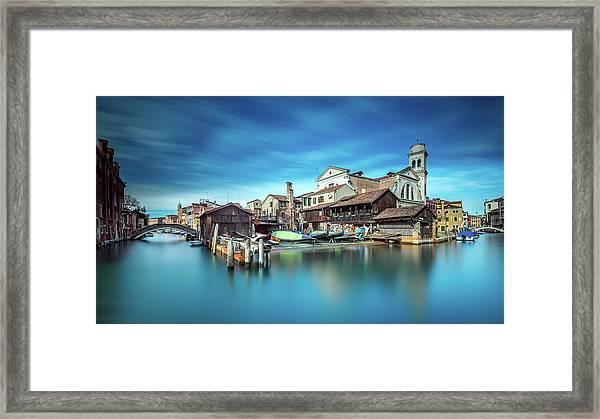 Gondola Workshop In Venice Framed Print