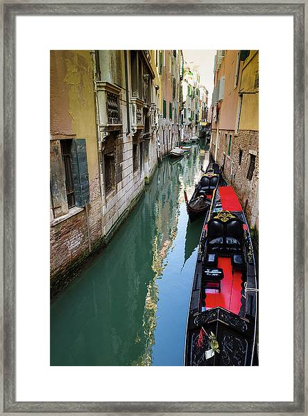 Gondolas And Canal, Venice, Veneto Framed Print by Russ Bishop