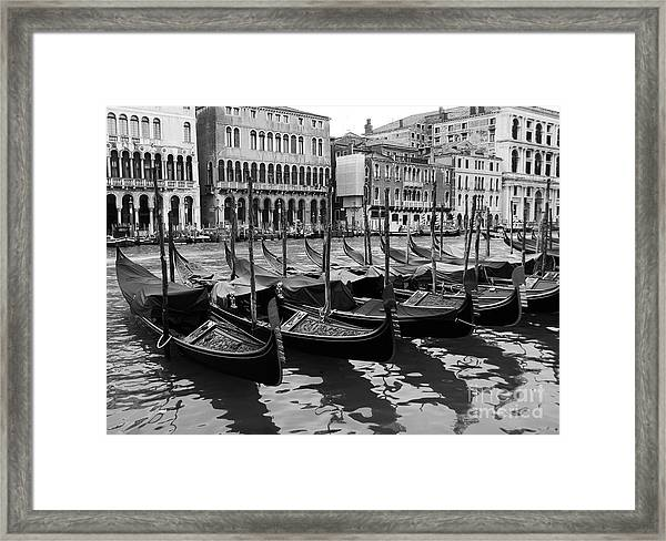 Framed Print featuring the photograph Gondolas In Black by Mel Steinhauer