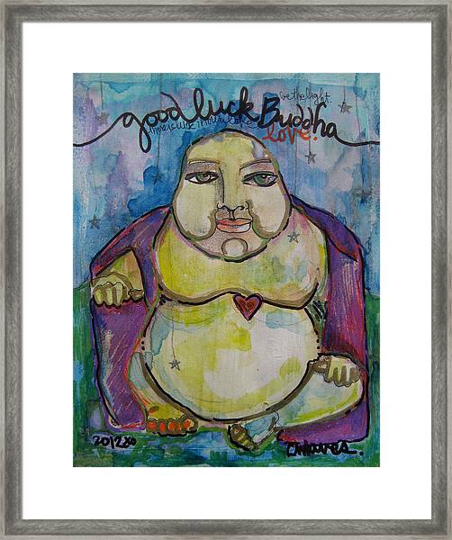 Framed Print featuring the painting Good Luck Buddha by Laurie Maves ART