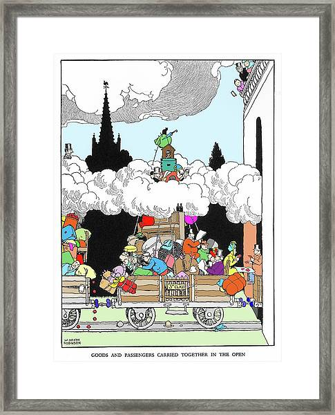 Goods And Passengers Carried Together By W. Heath Robinson Framed Print by Adam Hart-davis/science Photo Library