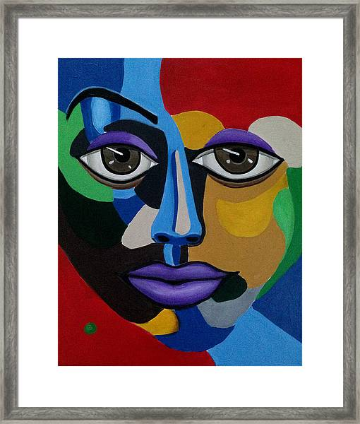 Abstract Face Art Abstract Painting Eye Art Framed Print
