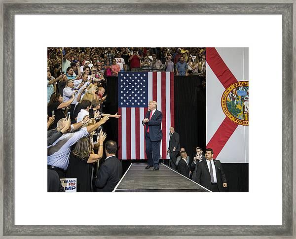 Gop Presidential Nominee Donald Trump Holds Rally In Jacksonville, Florida Framed Print by Mark Wallheiser