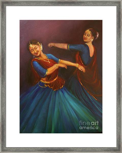 Gopis Dancing To The Flute Of Krishna Framed Print