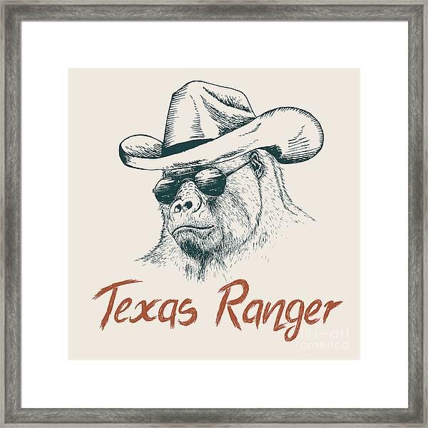 Gorilla Like A Texas Ranger Dressed In Framed Print