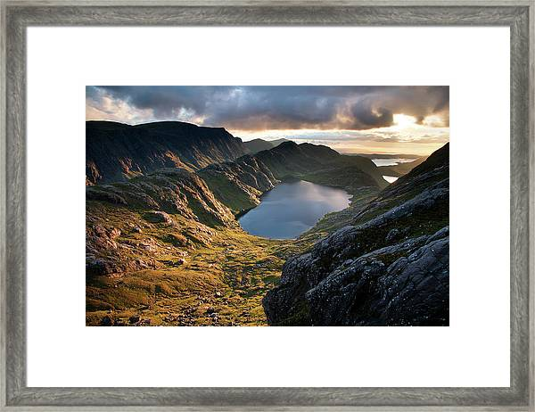 Gorm Loch Mor And Fionn Loch Beyond Framed Print by Feargus Cooney
