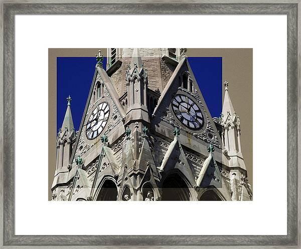 Gothic Church Clock Tower Spire Framed Print