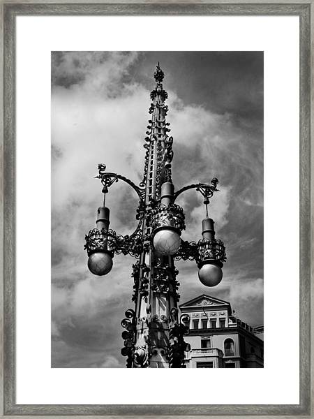 Gothic Lamp Post In Barcelona Framed Print