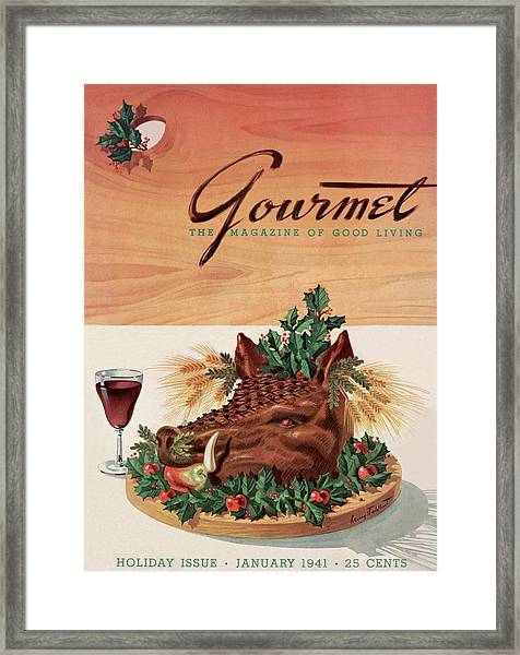 Gourmet Cover Featuring A Boar's Head Framed Print